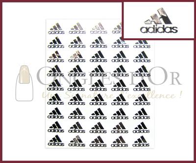 3-D Nail Sticker Silver Logo Adidas (DLA43)