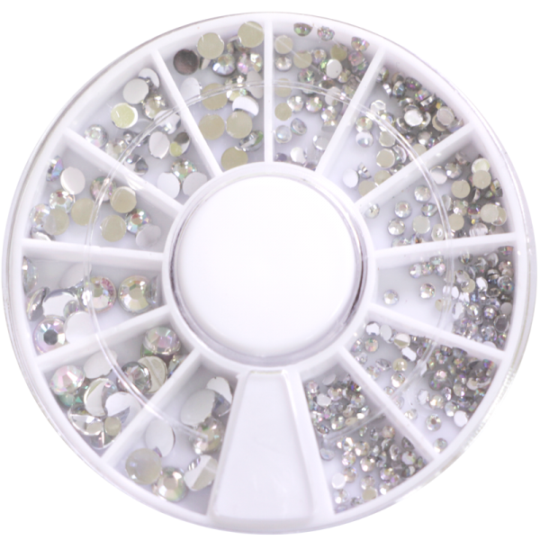 Stone wheel – round shape – clear holographic (1-3mm)