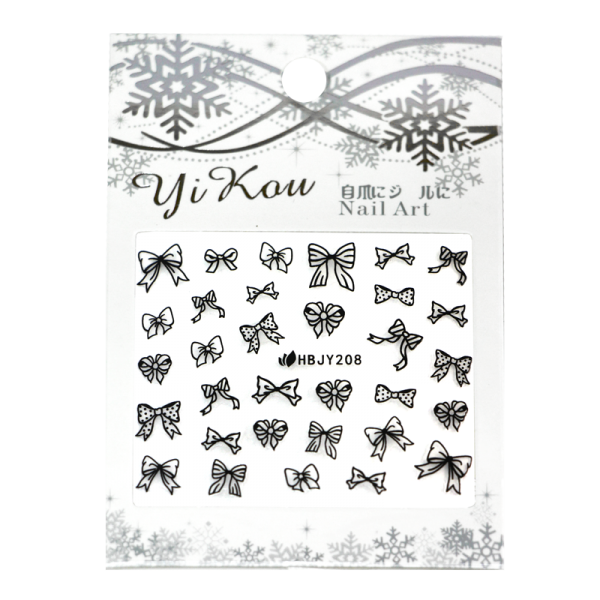 3-D Nail Sticker model black bows HBJY208