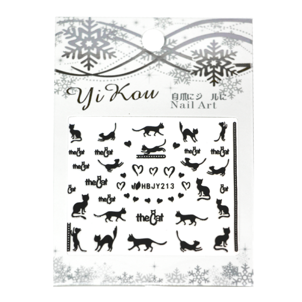 3-D Nail Sticker model black cats HBJY213