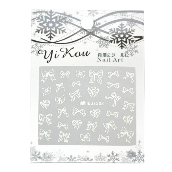 3-D Nail Sticker model white bows HBJY208