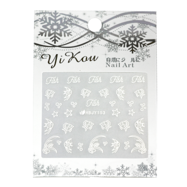 3-D Nail Sticker model white fish HBJY153