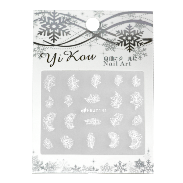 3-D Nail Sticker model white peacock feathers HBJY141