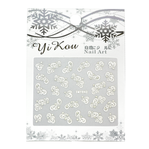 3-D Nail Sticker model white tribal design SMY042
