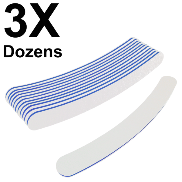 Curved Files White 100/180 (3 Dozens) W