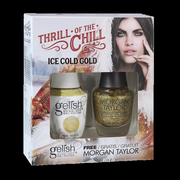 Gelish Gel Polish + Morgan Taylor Ice Cold Gold 15 mL