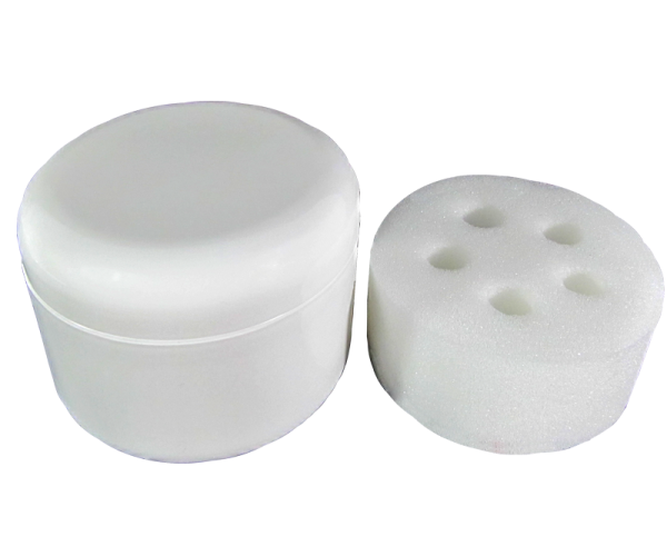 Plastic Jar with Lid (8 oz) (Nail Brush Jar) + Sponge (5 Holes)